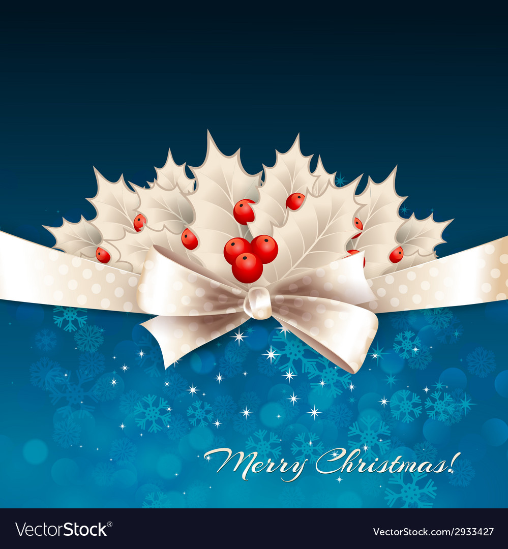 Christmas background with bow and holly vector | Price: 1 Credit (USD $1)
