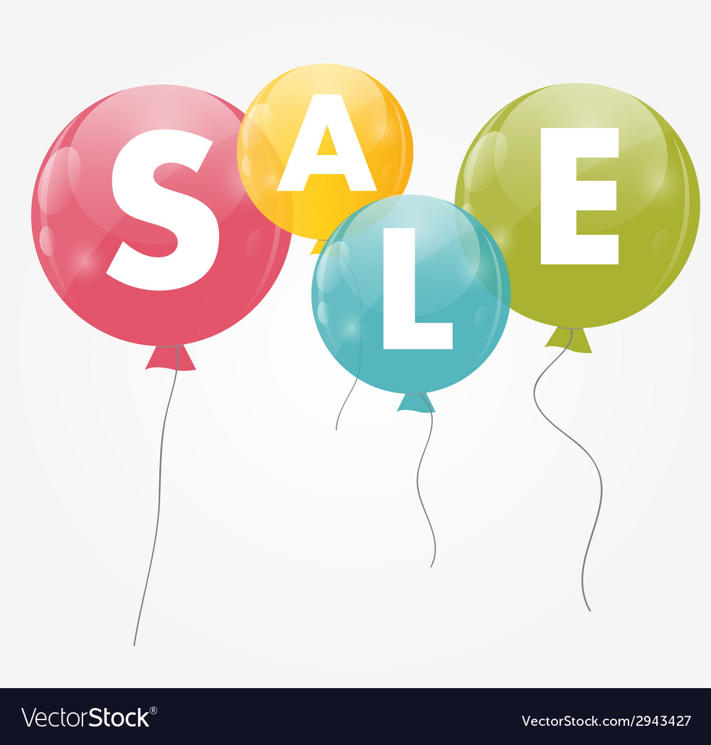 Color glossy balloons sale concept of discount vector | Price: 1 Credit (USD $1)