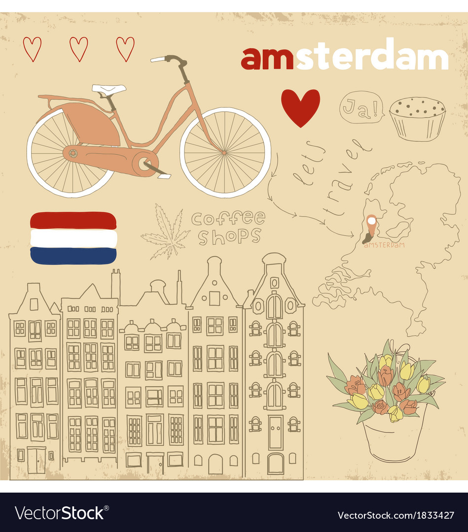 Set of amsterdam symbols vector | Price: 1 Credit (USD $1)