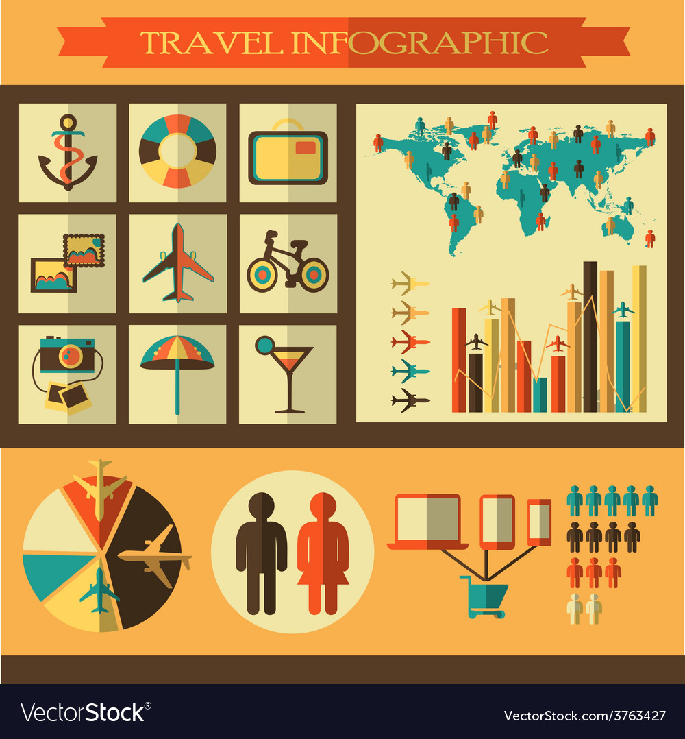 Travel infographics with icons vector | Price: 1 Credit (USD $1)