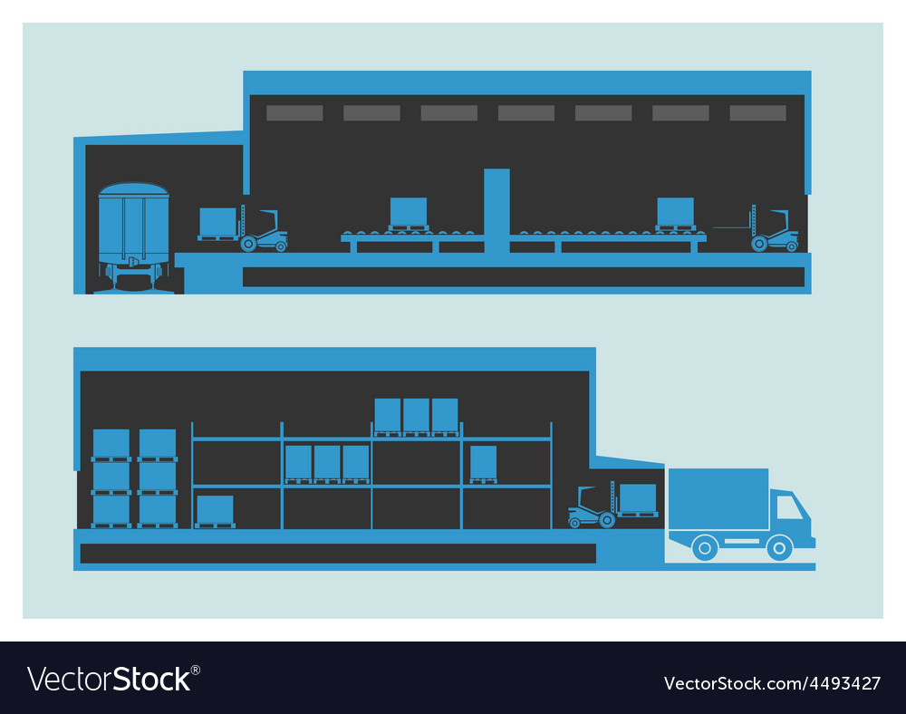 Warehouse the unloading and loading process vector