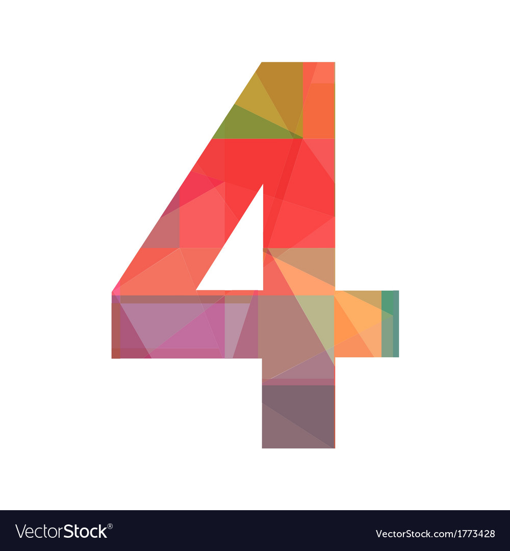 A colorful number four vector | Price: 1 Credit (USD $1)