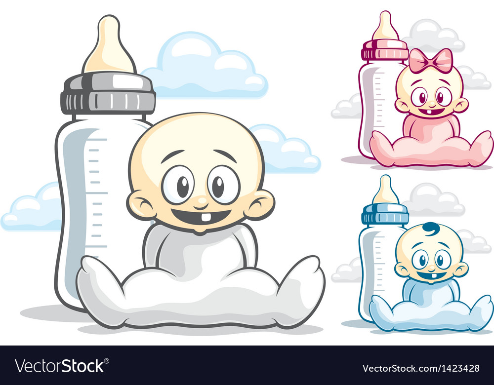 Babies and feeding bottle vector | Price: 1 Credit (USD $1)