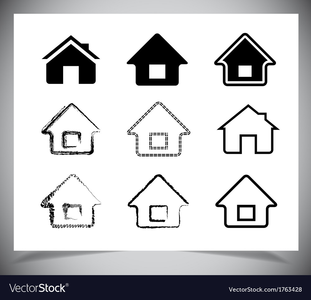 Black house icons set on white vector | Price: 1 Credit (USD $1)