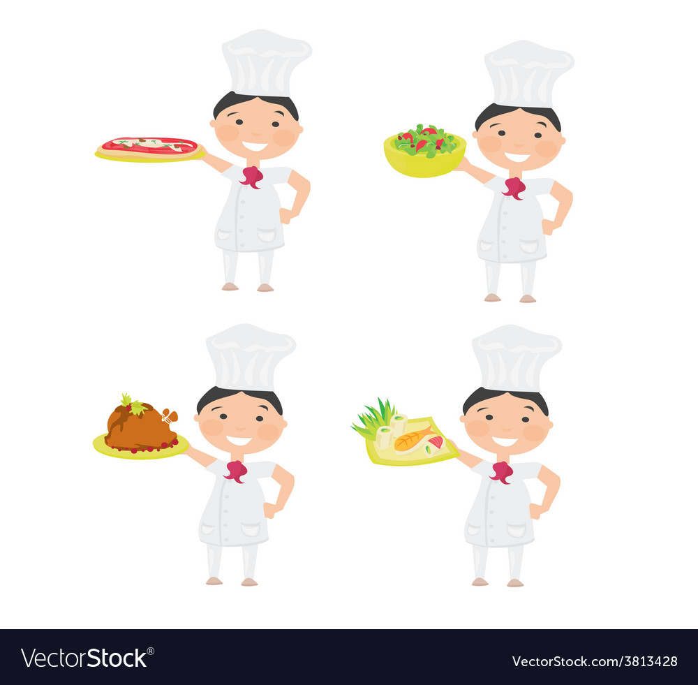 Cheerful chef serving dishes - set vector | Price: 1 Credit (USD $1)