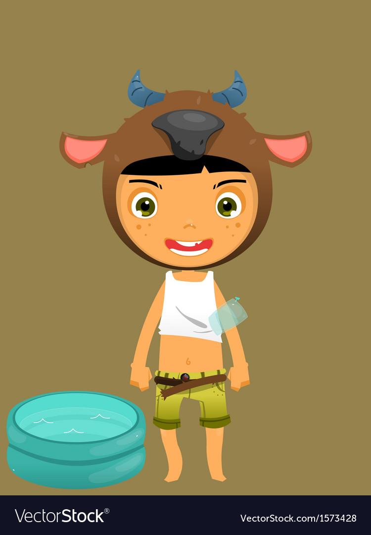 Cute boy water buffalo vector | Price: 1 Credit (USD $1)