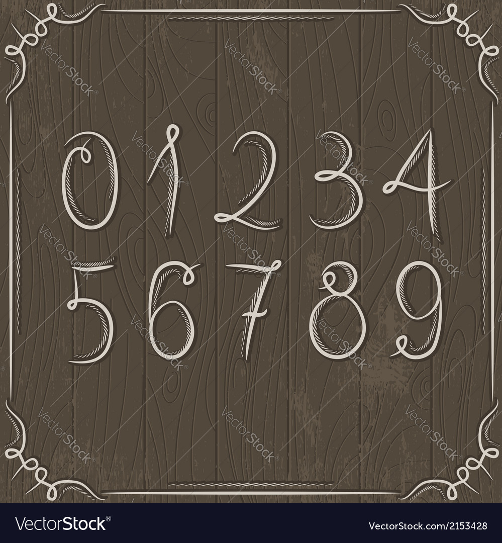 Floral decorative borders and numbers on wooden ba vector | Price: 1 Credit (USD $1)