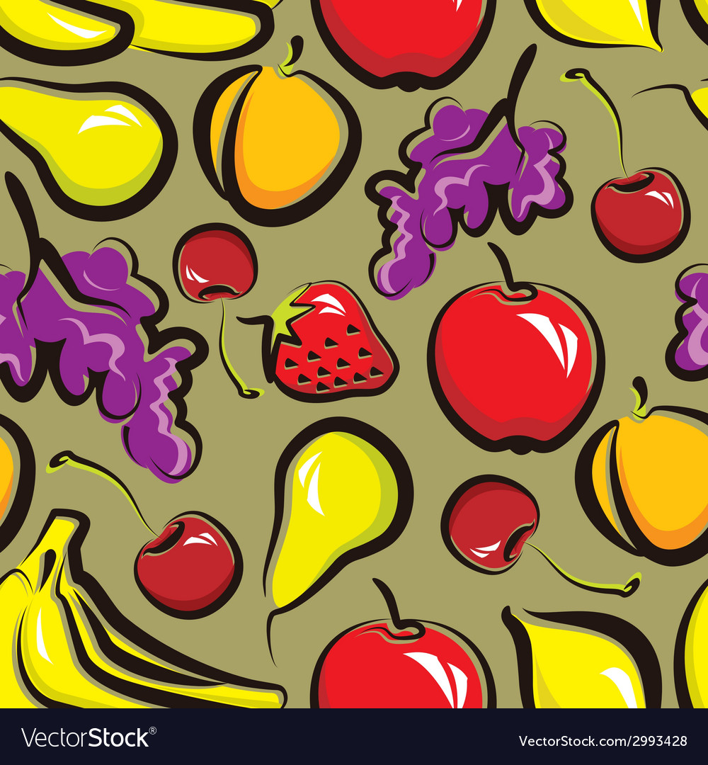 Food background with fruit seamless pattern vector | Price: 1 Credit (USD $1)
