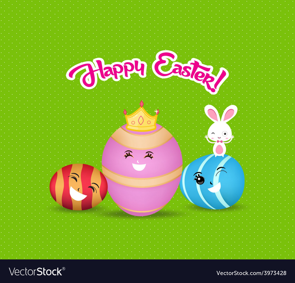 Happy easter eggs and bunny greeting card vector | Price: 1 Credit (USD $1)
