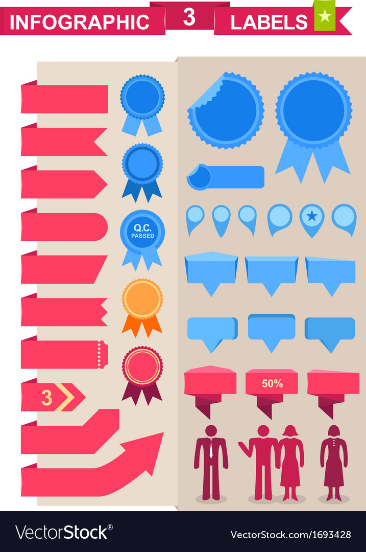 Labels set for infographics vector | Price: 1 Credit (USD $1)