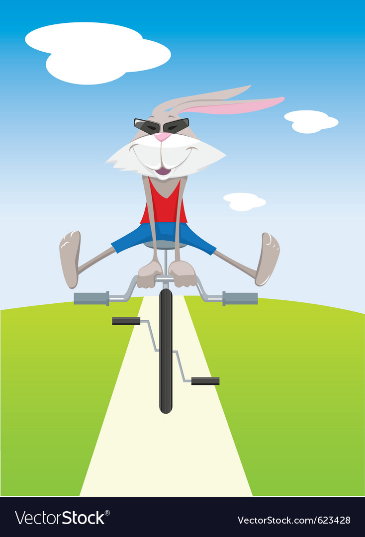 Rabbit on a bicycle silhouette vector | Price: 1 Credit (USD $1)