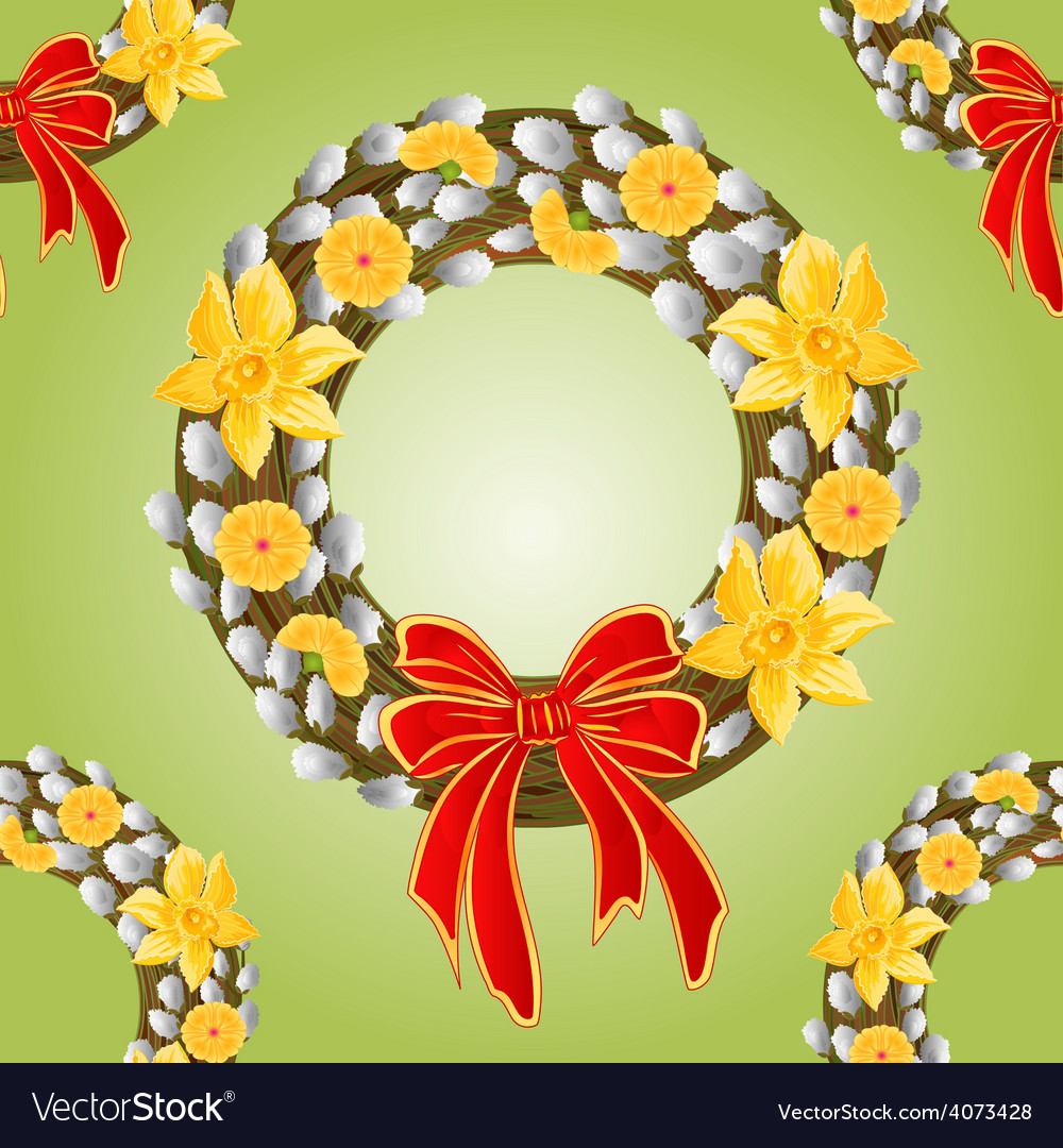 Seamless texture wreath with pussy willow vector | Price: 1 Credit (USD $1)