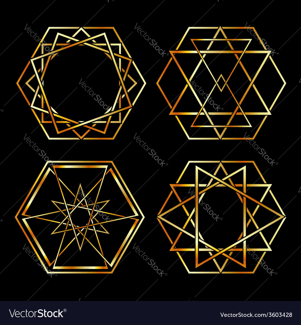 Set of artistic hexagonal logos in gold vector | Price: 1 Credit (USD $1)