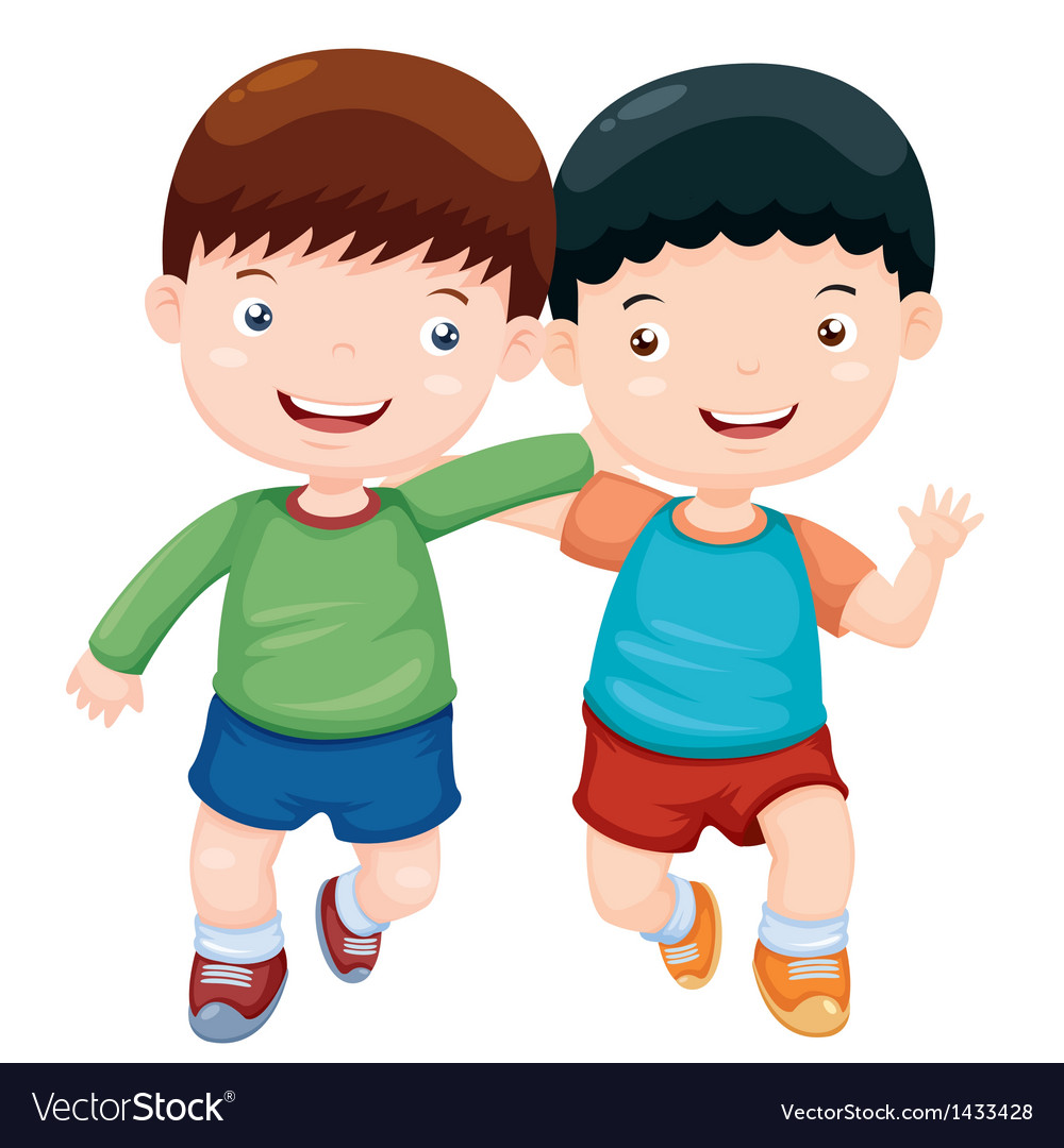Two boys have fun vector | Price: 1 Credit (USD $1)