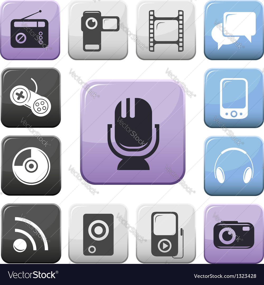 Video audio and multimedia buttons set vector | Price: 1 Credit (USD $1)