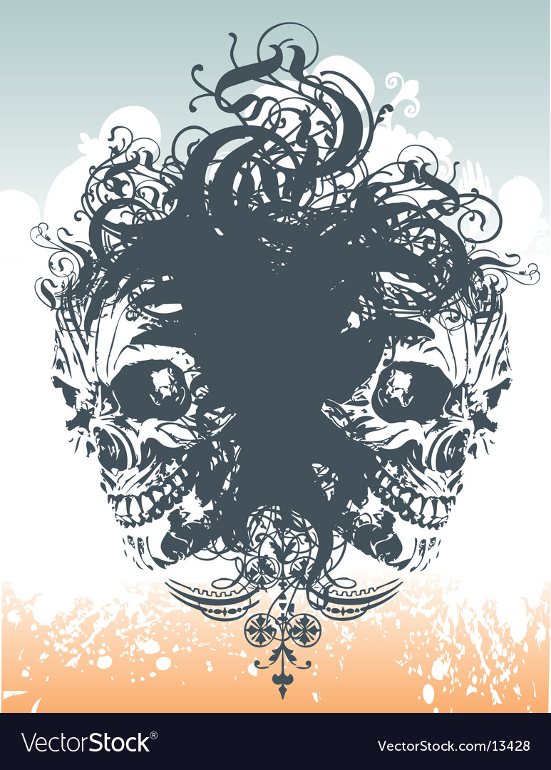 Wicked skull flourish illustration vector | Price: 1 Credit (USD $1)