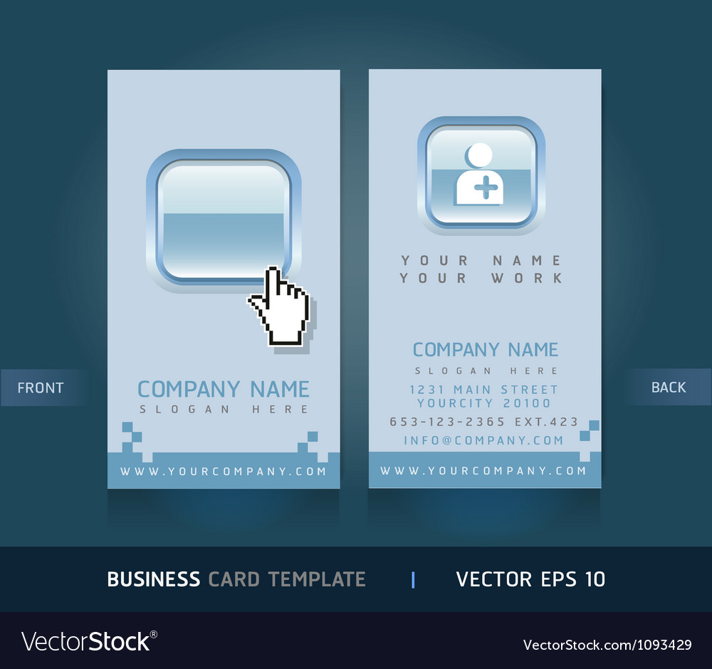 Business card blue buttons style vector | Price: 1 Credit (USD $1)