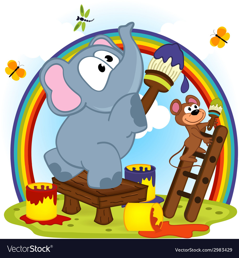 Elephant and mouse draw rainbow vector | Price: 1 Credit (USD $1)
