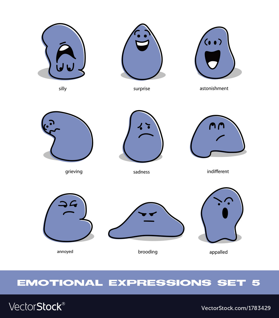 Emotional expressions set vector | Price: 1 Credit (USD $1)