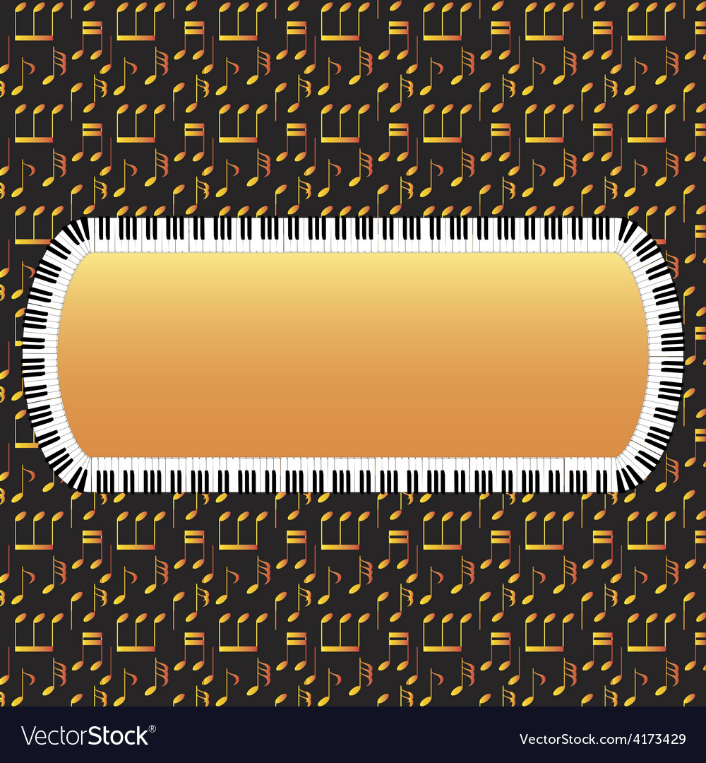 Piano frame with note background vector | Price: 1 Credit (USD $1)