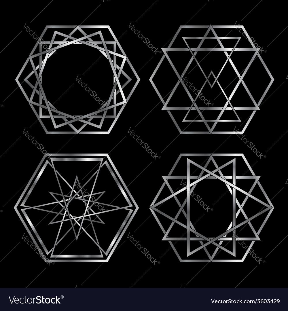 Set of artistic hexagonal logos in silver vector | Price: 1 Credit (USD $1)