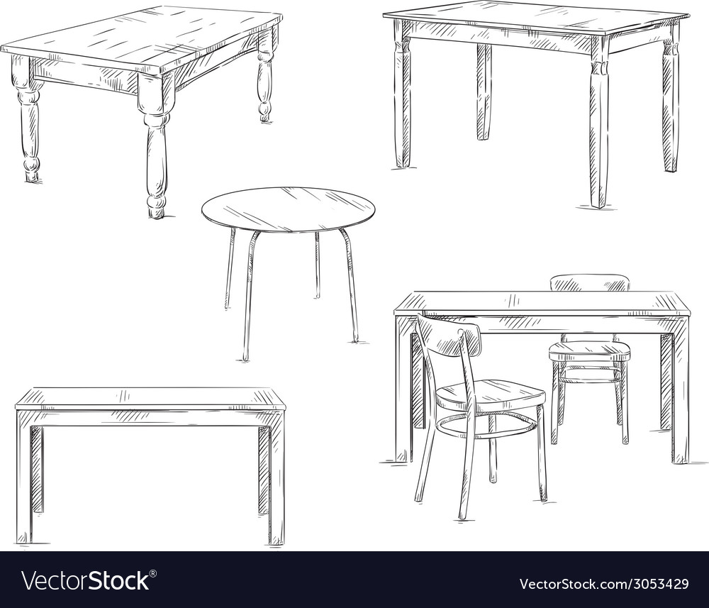 Set of hand drawn tables vector | Price: 1 Credit (USD $1)
