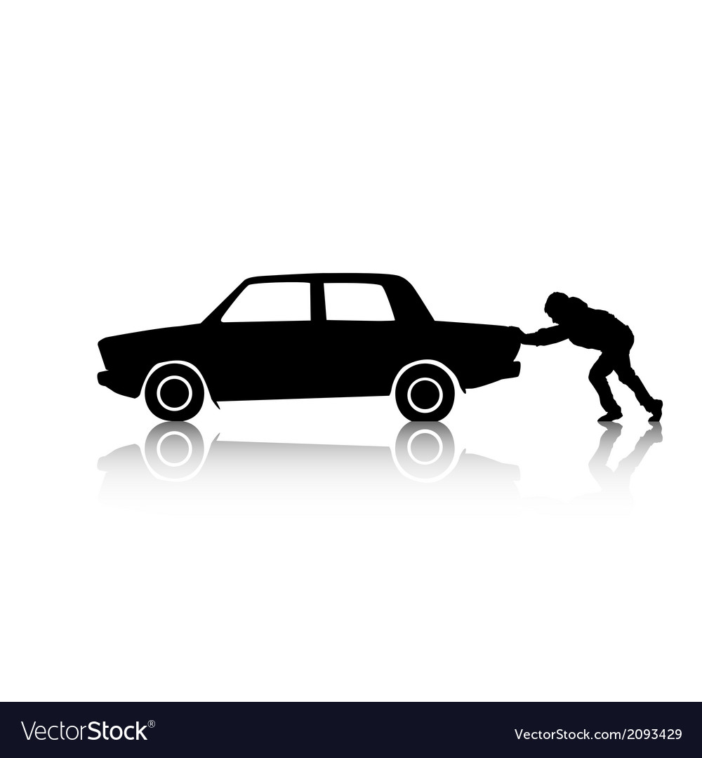 Silhouette of man pushing a car vector | Price: 1 Credit (USD $1)