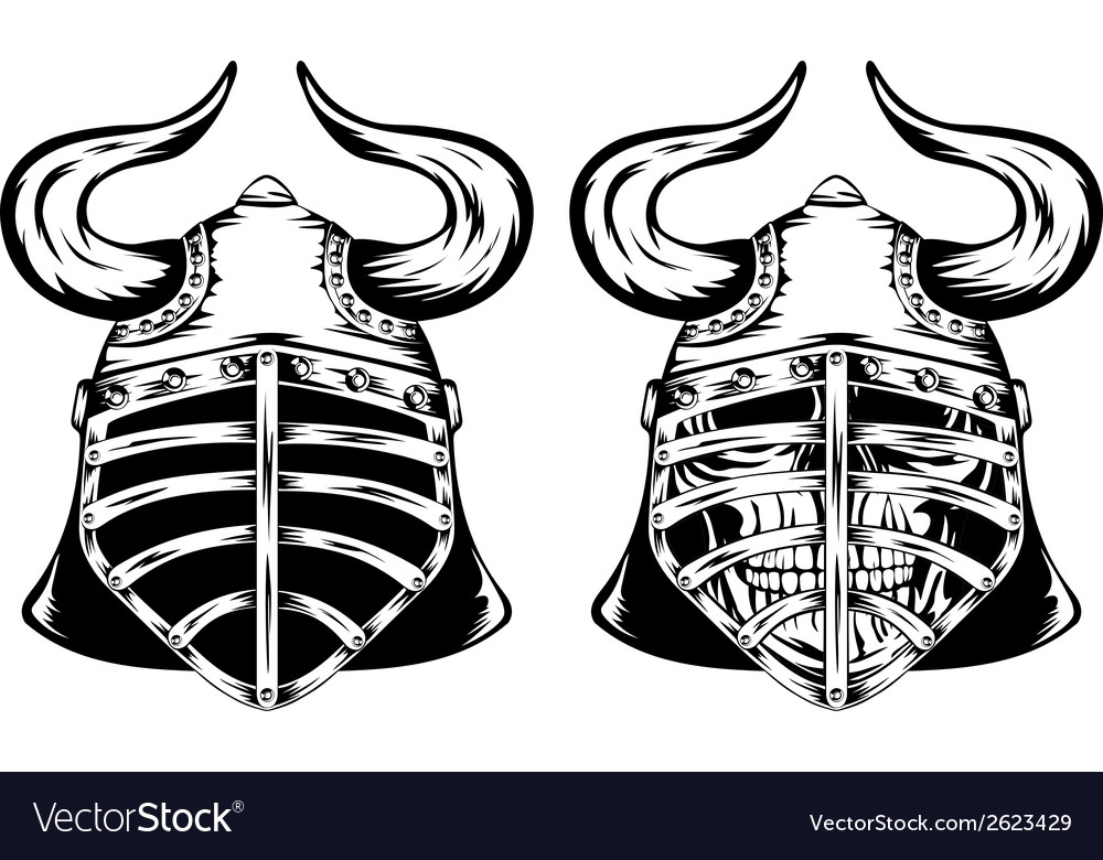 Skull in helmet with horns vector | Price: 1 Credit (USD $1)