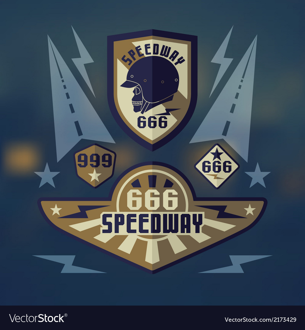 Speedwey 666 retro emblems vector | Price: 1 Credit (USD $1)