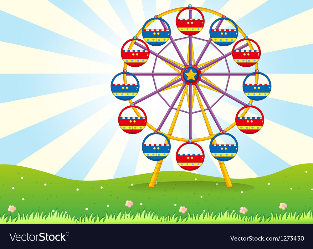 A ferris wheel at the hilltop vector | Price: 1 Credit (USD $1)