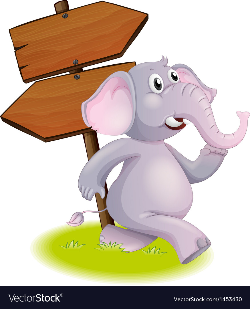 A gray elephant following the direction vector | Price: 1 Credit (USD $1)