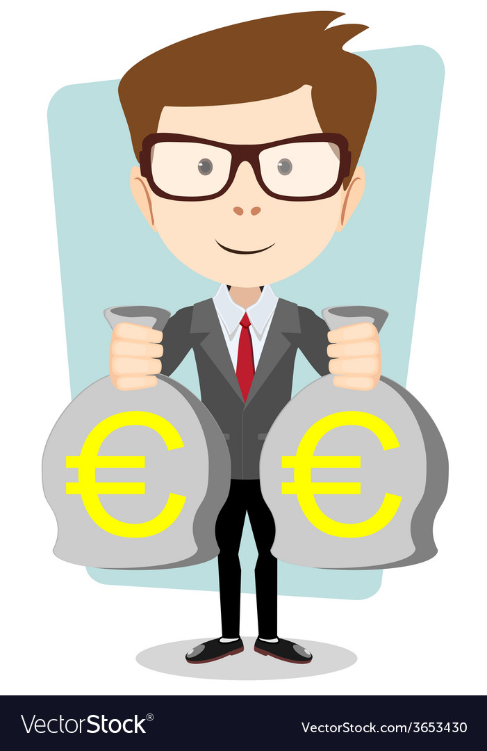 Businessman with bags full of euros vector | Price: 1 Credit (USD $1)