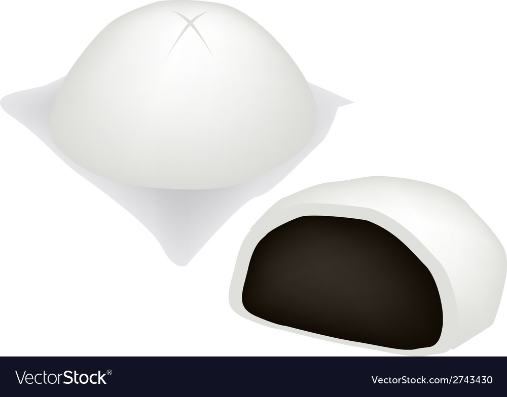 Chinese steamed bun and sweet black bean stuff vector | Price: 1 Credit (USD $1)