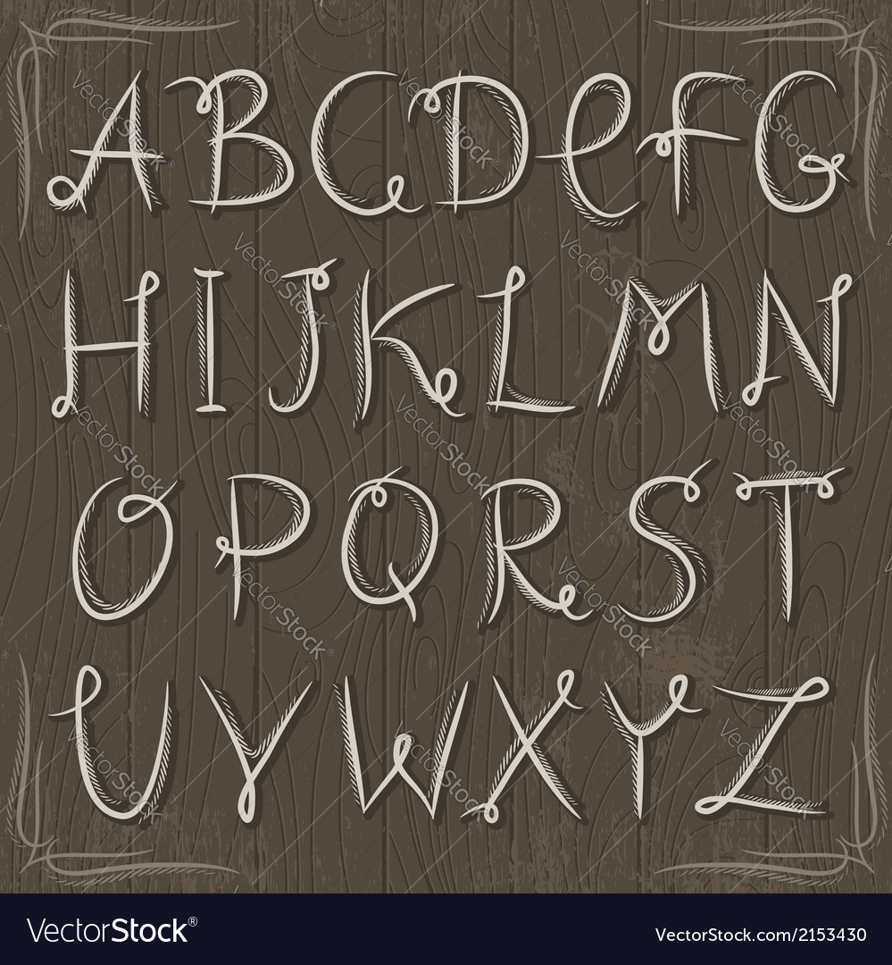 Floral decorative borders and alphabet on wooden b vector   Price: 1 Credit (USD $1)