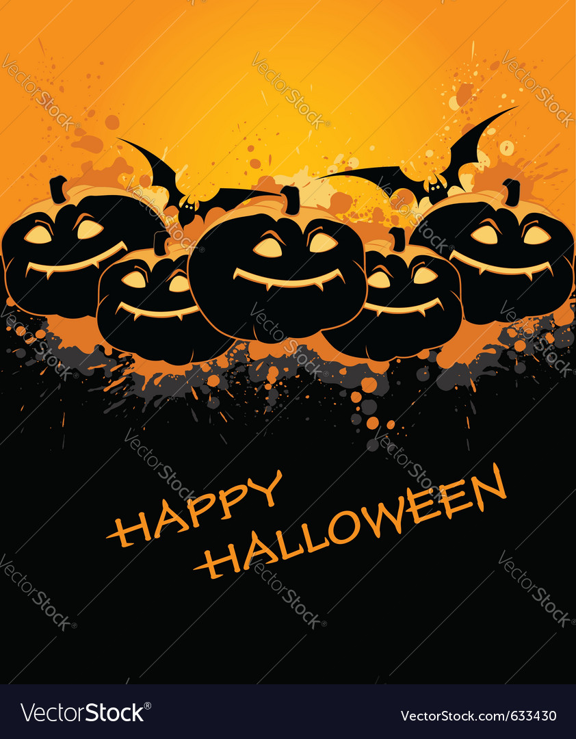 Halloween background with pumpkin and bat vector | Price: 1 Credit (USD $1)