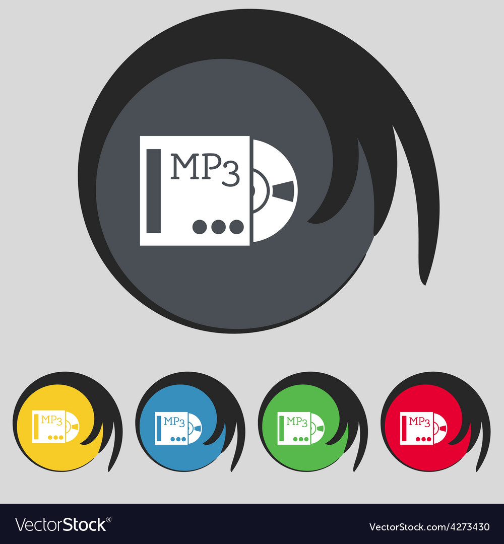 Mp3 player icon sign symbol on five colored vector | Price: 1 Credit (USD $1)