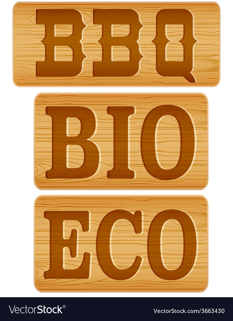 Nameplate of wood with words bbq bio eco vector | Price: 1 Credit (USD $1)