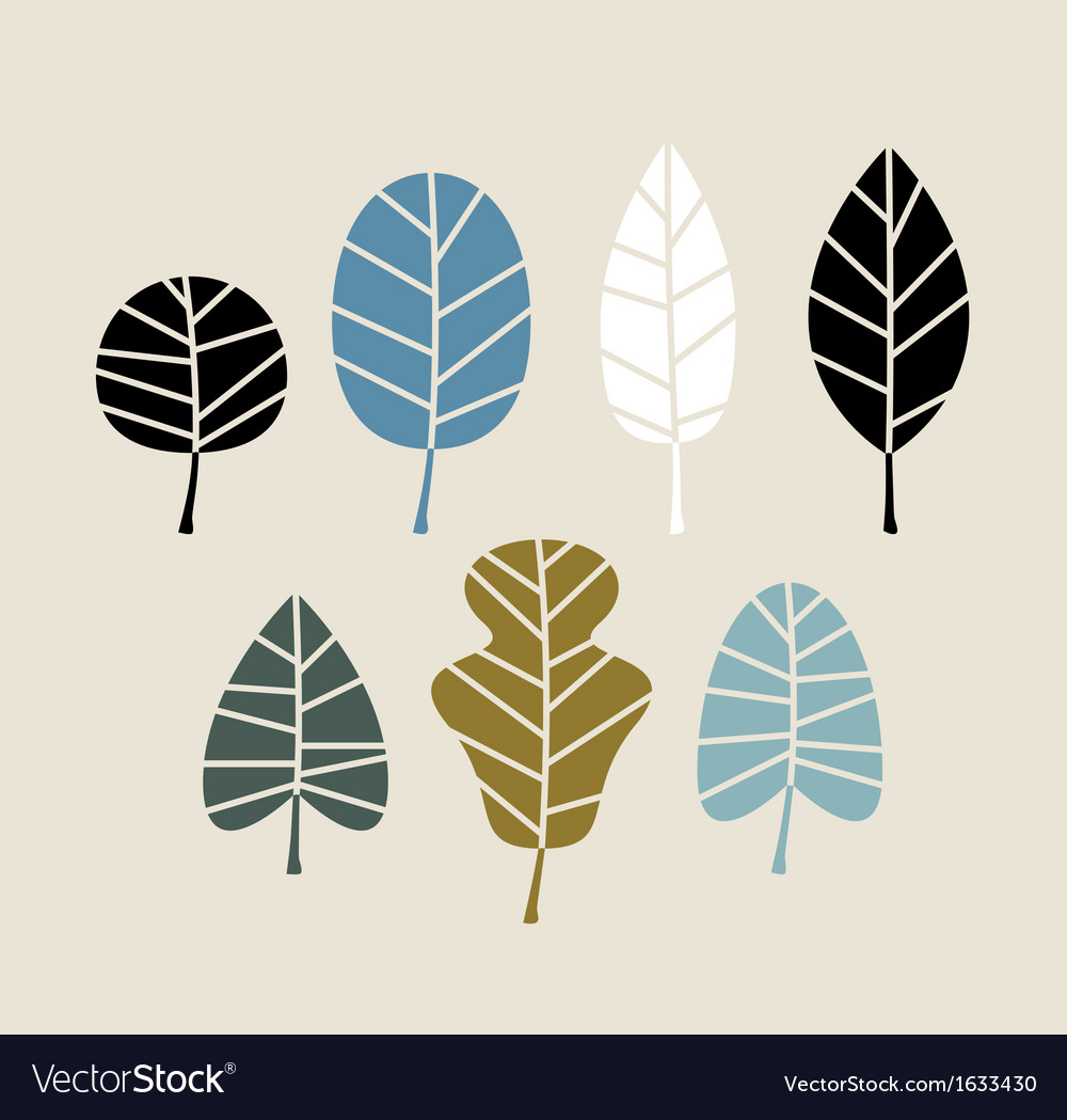 Retro autumn leaves isolated on beige background vector | Price: 1 Credit (USD $1)
