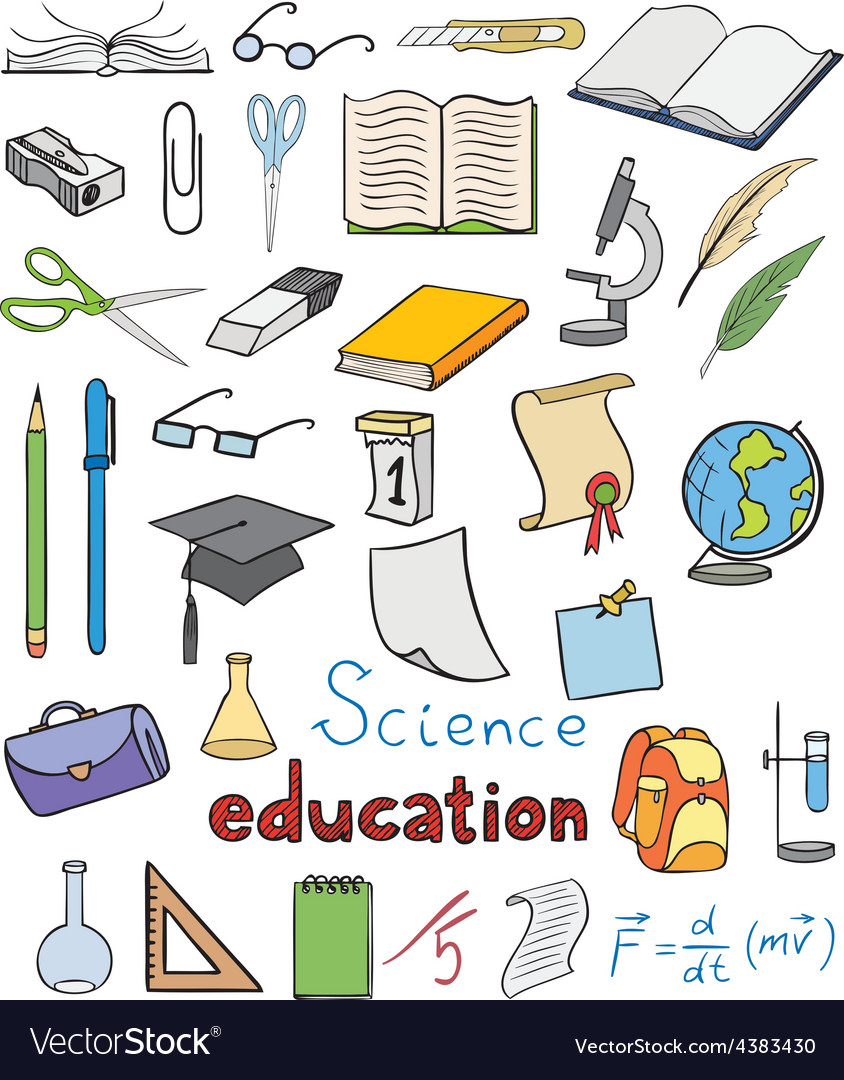 Science and education color icons vector | Price: 1 Credit (USD $1)