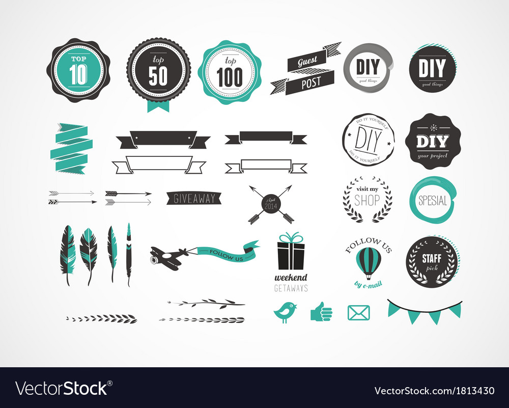 Set of retro vintage badges ribbons and labels vector | Price: 1 Credit (USD $1)