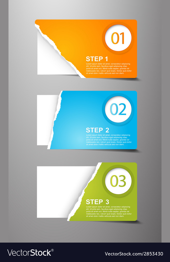 Set of teared card with place for your own text vector | Price: 1 Credit (USD $1)