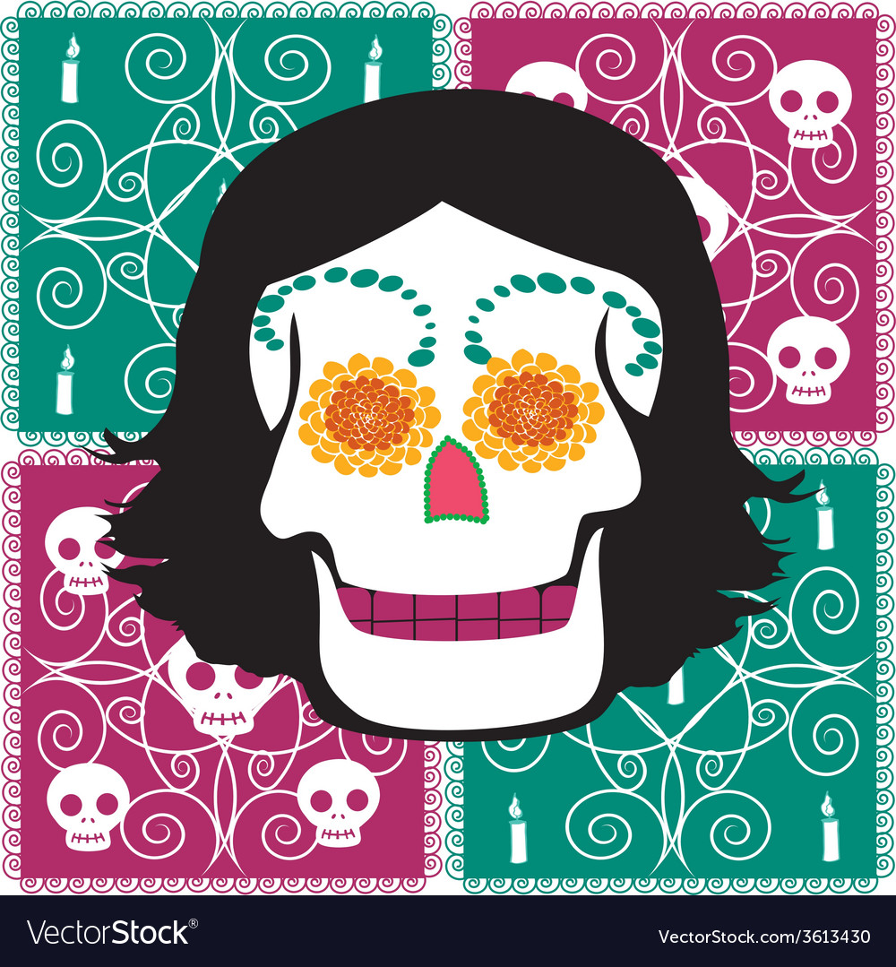 Woman mexican skull vector | Price: 1 Credit (USD $1)