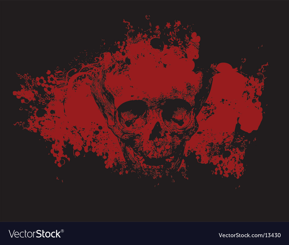 Zombie grunge skull illustration vector | Price: 1 Credit (USD $1)