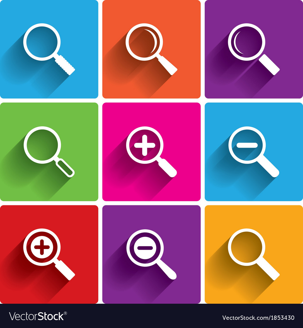 Zoom icons search symbols magnifier glass vector | Price: 1 Credit (USD $1)