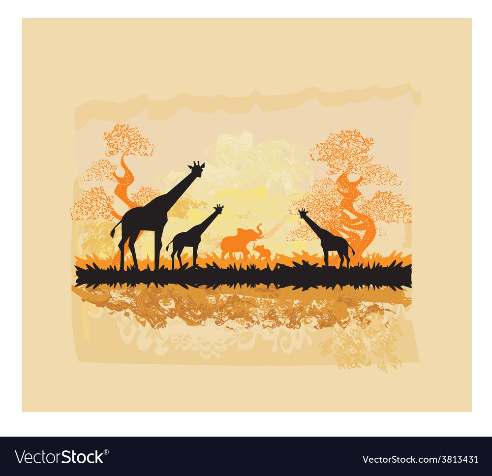 African savannah vector | Price: 1 Credit (USD $1)