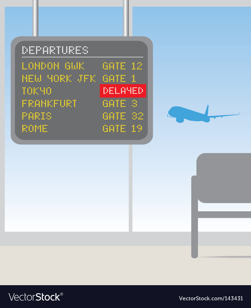 Airport delayed sign vector | Price: 1 Credit (USD $1)