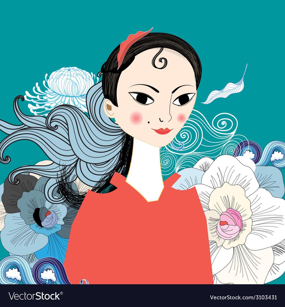 Beautiful portrait of east girl vector   Price: 1 Credit (USD $1)