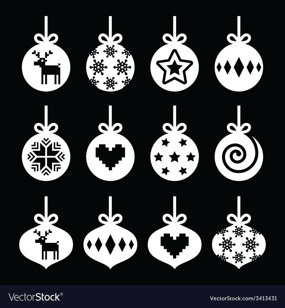 Christmas ball christmas bauble white icons vector | Price: 1 Credit (USD $1)