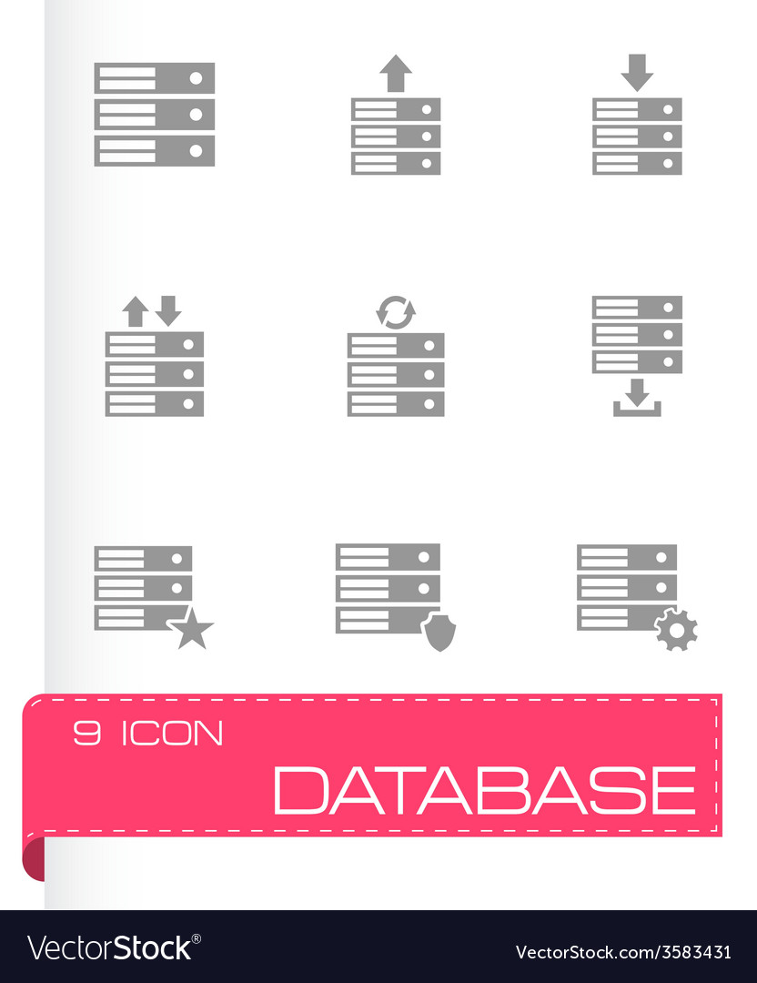 Database icon set vector | Price: 1 Credit (USD $1)