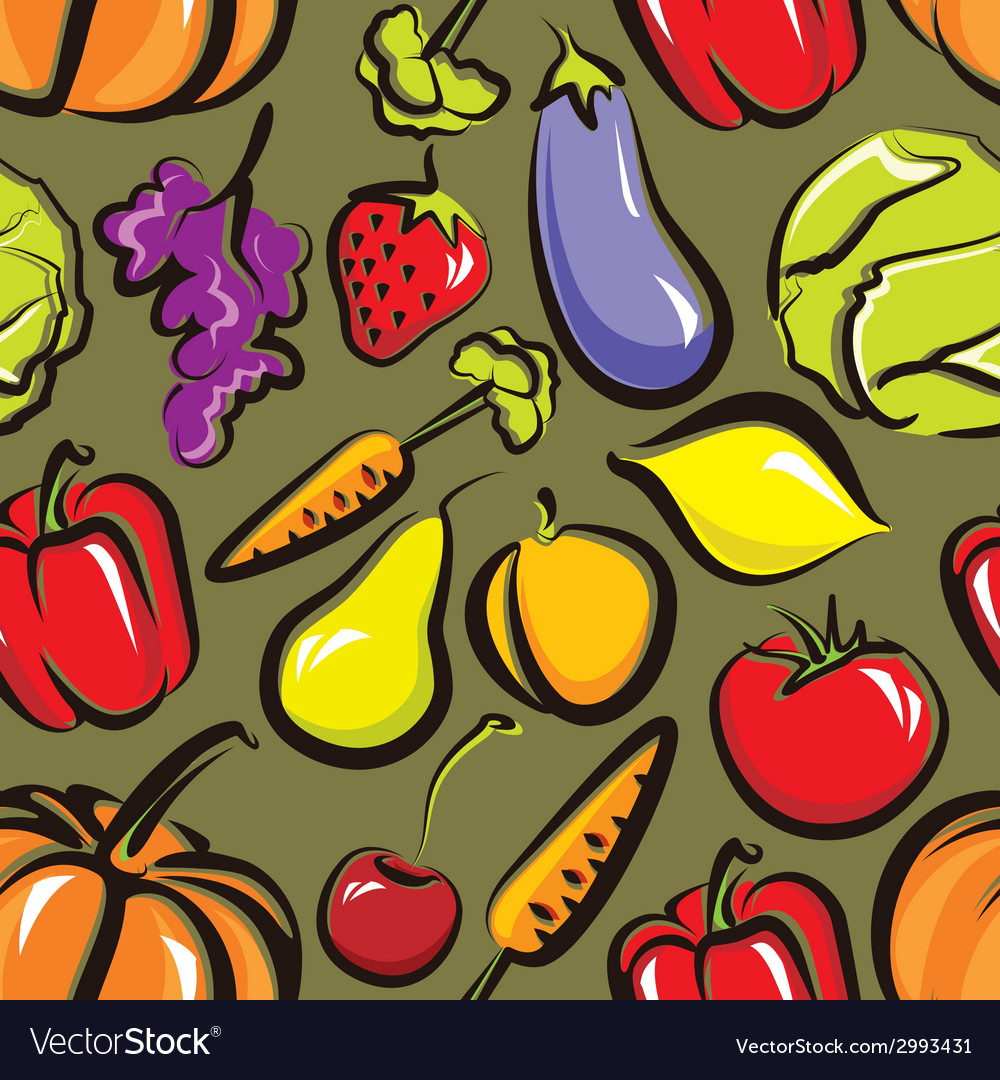 Food background with fruit and vegetables seamless vector | Price: 1 Credit (USD $1)